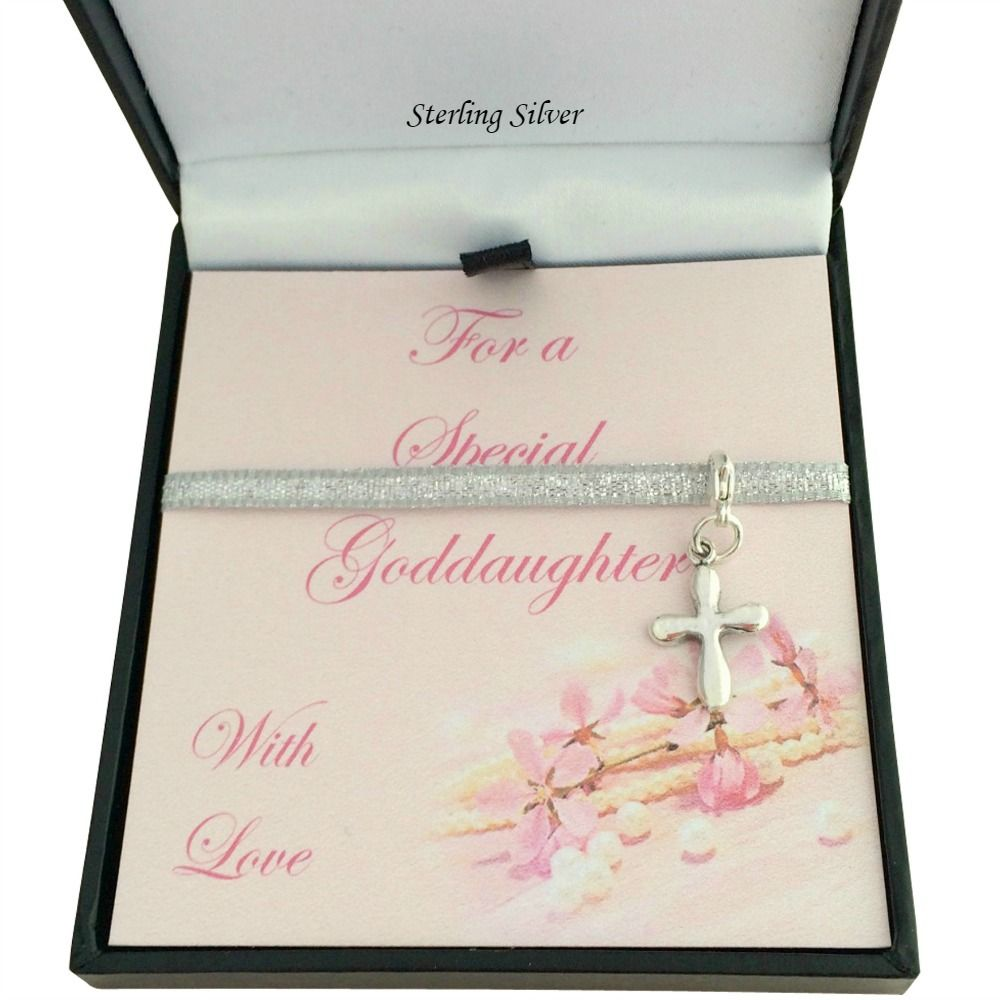 Silver Rounded Cross Charm Gift Boxed For Daughter Goddaughter Etc
