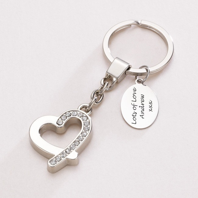 Sparkly Heart Keyring with Engraving | Jewels 4 Girls