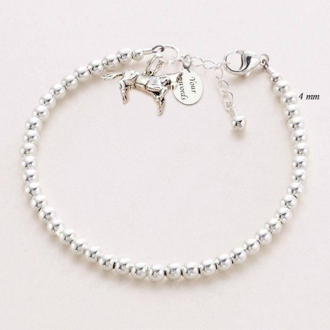 Sterling Silver Beads Bracelet With Horse Charm And