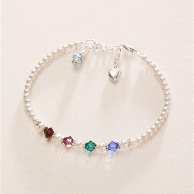 Sterling Silver Birthstone Bracelet With Family Birthstones Jewels 4 S