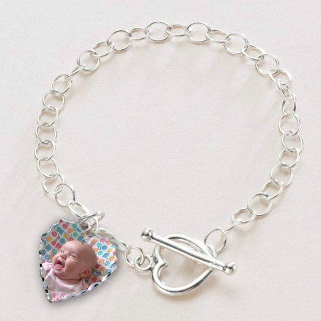 Sterling Silver Bracelet with Photo and Engraving | Jewels 4 Girls