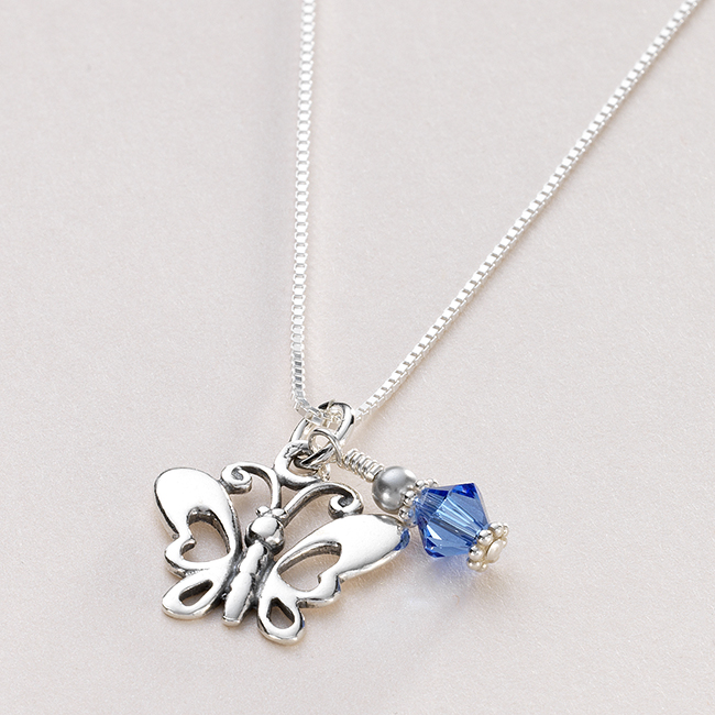 Sterling Silver Butterfly Birthstone Necklace Jewels 4 Girls
