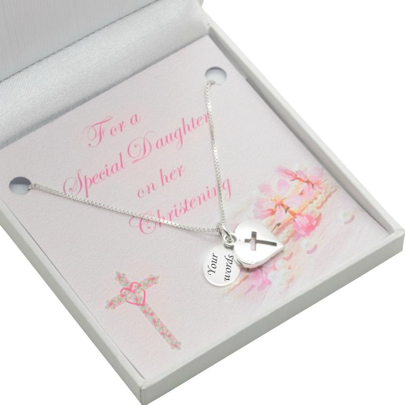 Sterling Silver Girls Christening Necklace Personalised Engraving