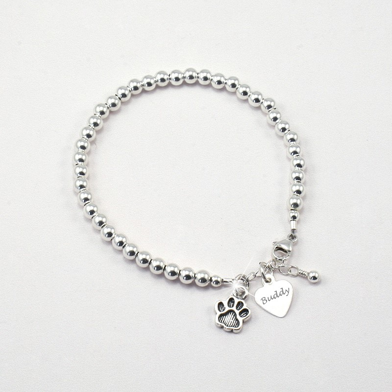 Sterling Silver Pet Name Bracelet With Any Engraved Jewels 4 S