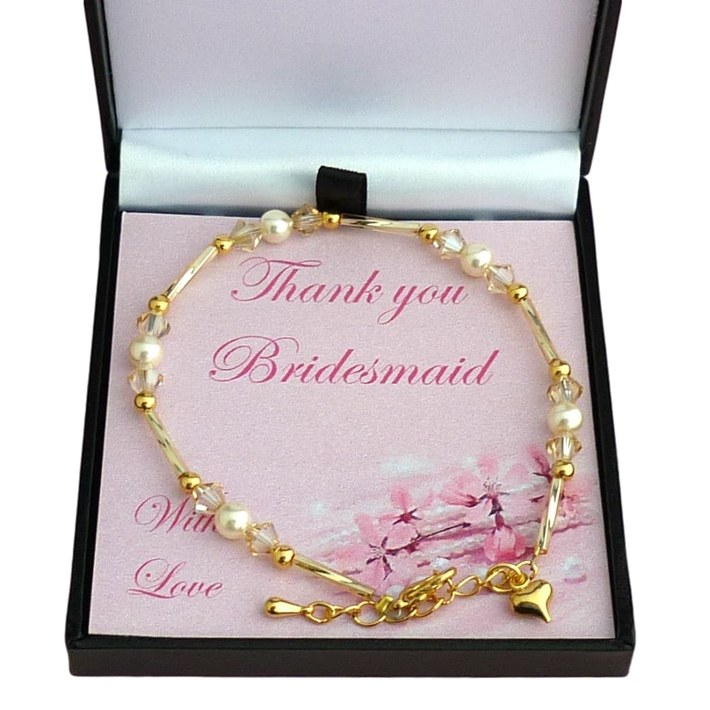 3d7f6a542 Thank You Gift for Bridesmaids, Flower Girls, Ivory Pearls & Gold Bracelet  | Jewels 4 Girls